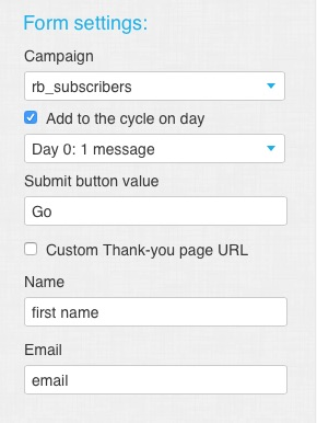 getresponse html form