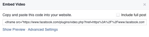 facebook video embed code